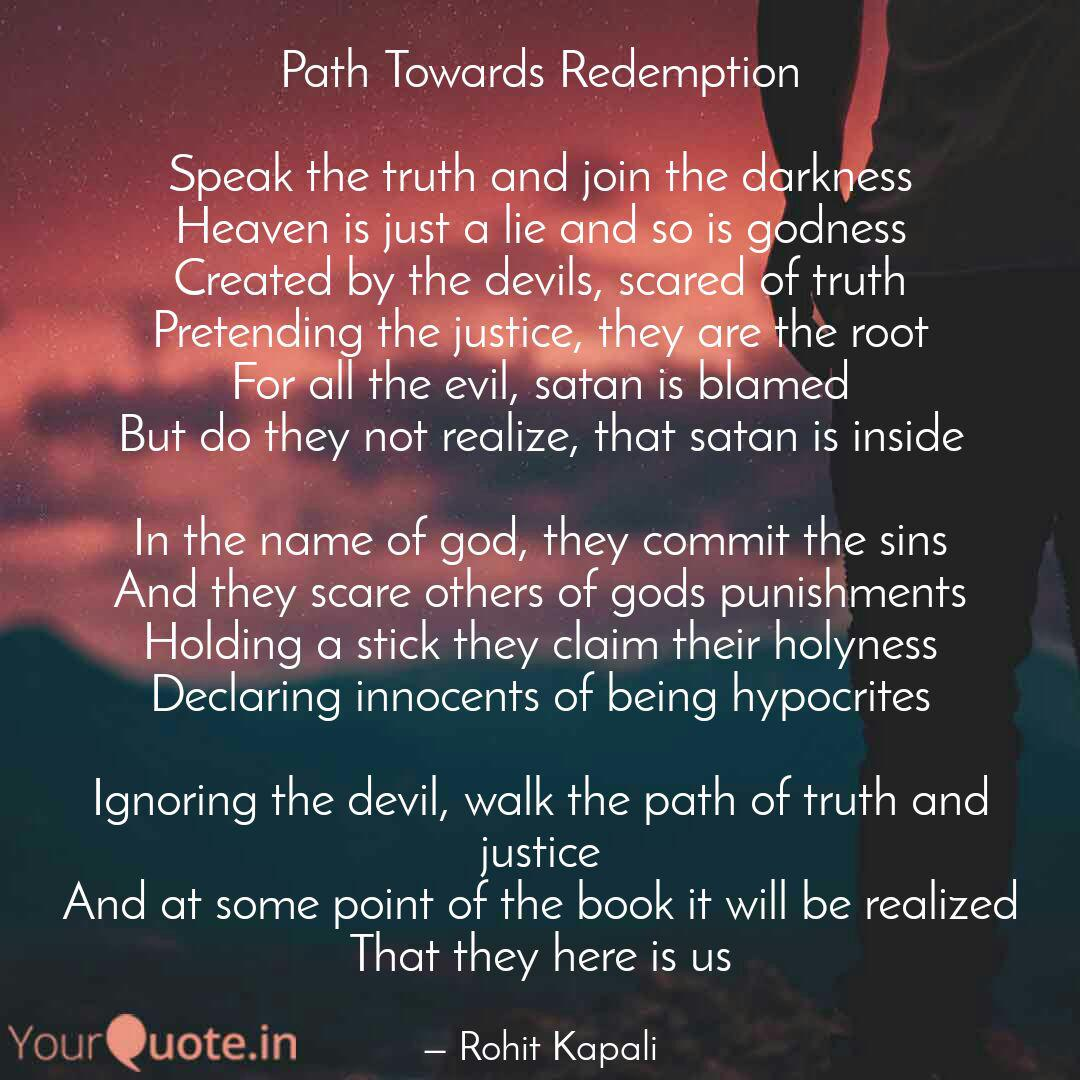 path towards redemption quotes writings by rohit kapali