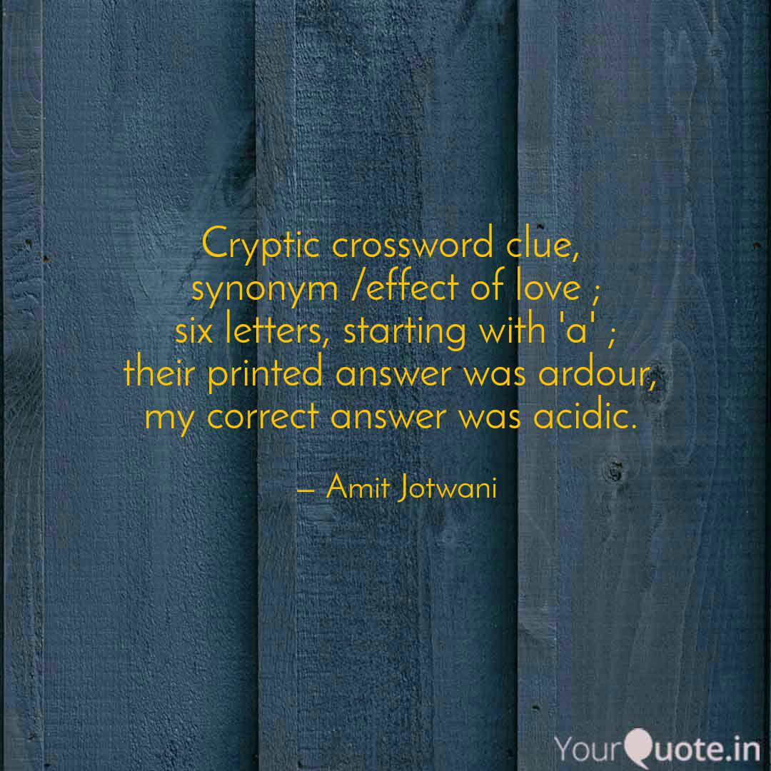 Cryptic Crossword Clue Quotes Writings By Amit Jotwani Yourquote