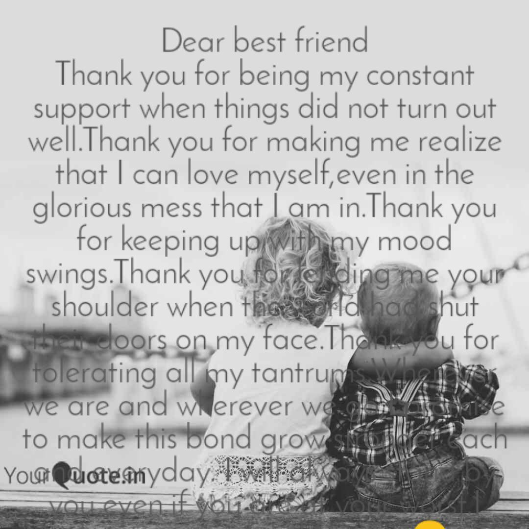 Dear Best Friend Thank Yo Quotes Writings By Riya Sen