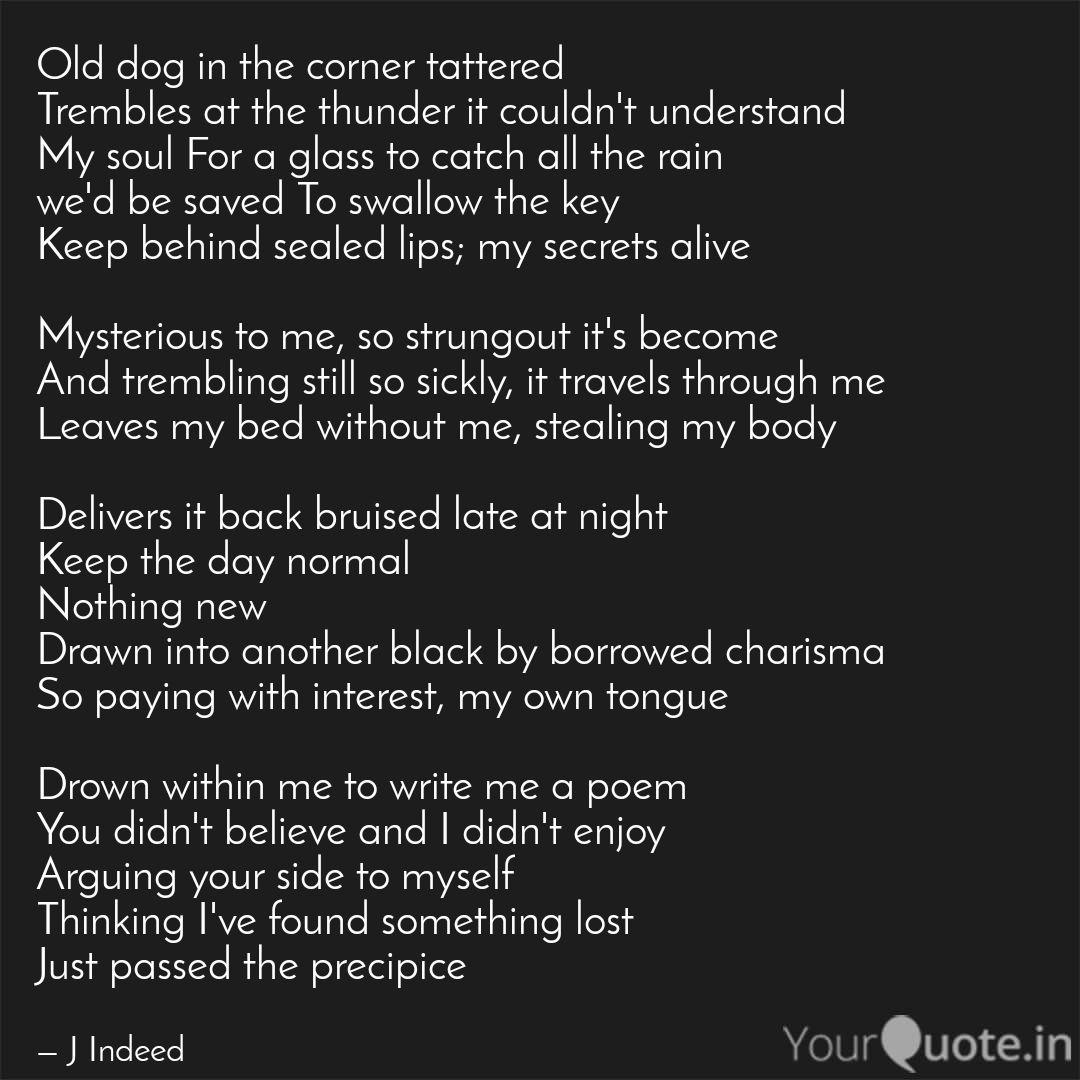 Old dog in the corner tat... | Quotes & Writings by J Indeed ...