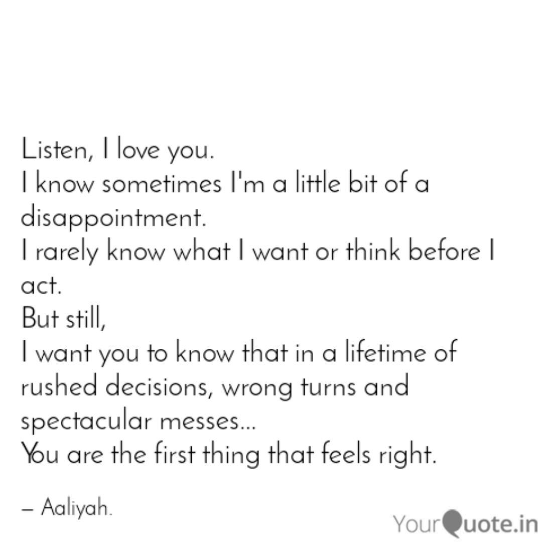 Listen, I love you. I kno... | Quotes & Writings by Umwali ...