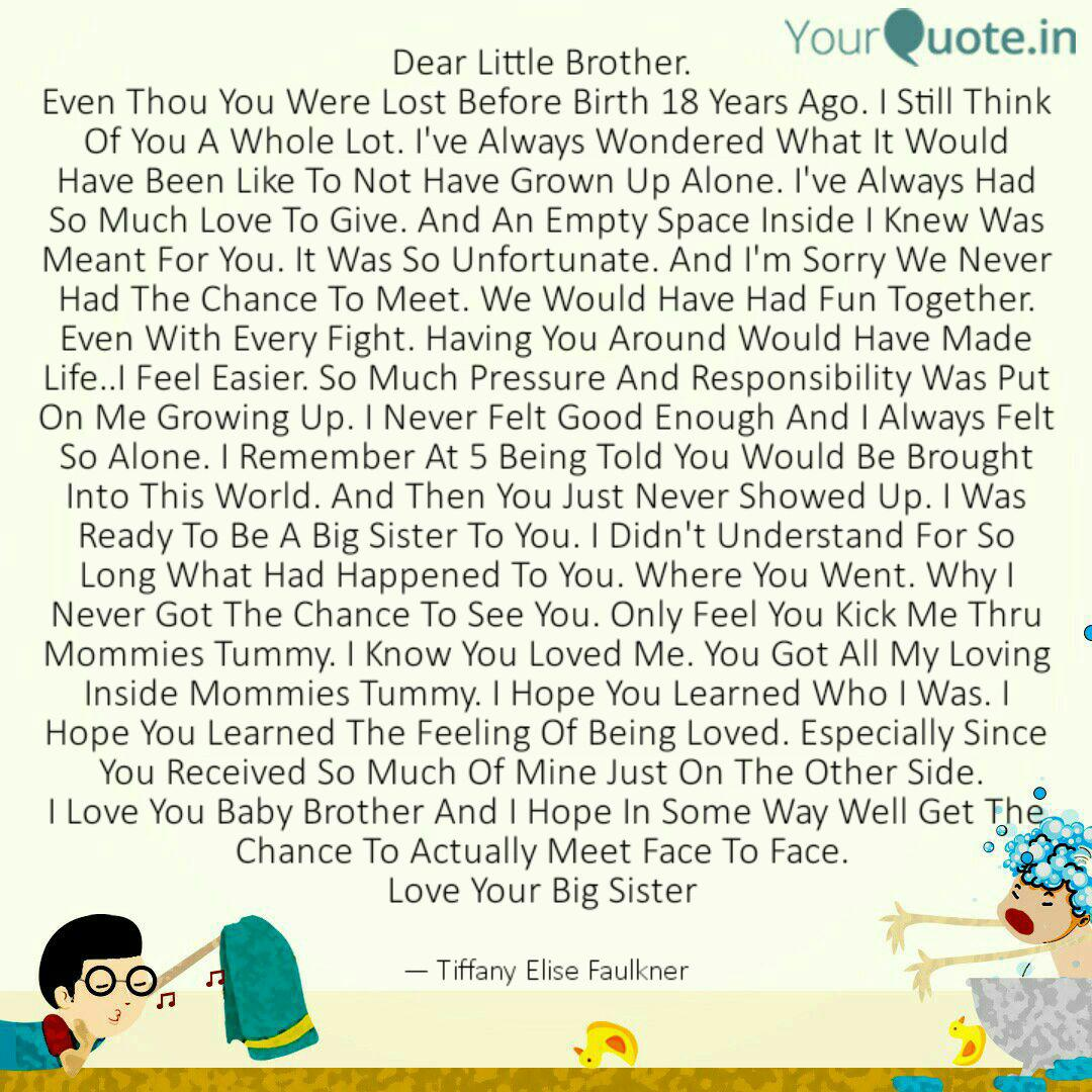 Dear Little Brother. Eve... | Quotes & Writings by Tiffany ...