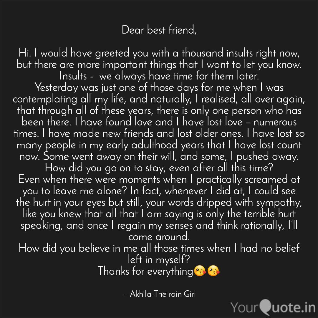 Dear best friend, Hi. I... | Quotes & Writings by Akhila R ...