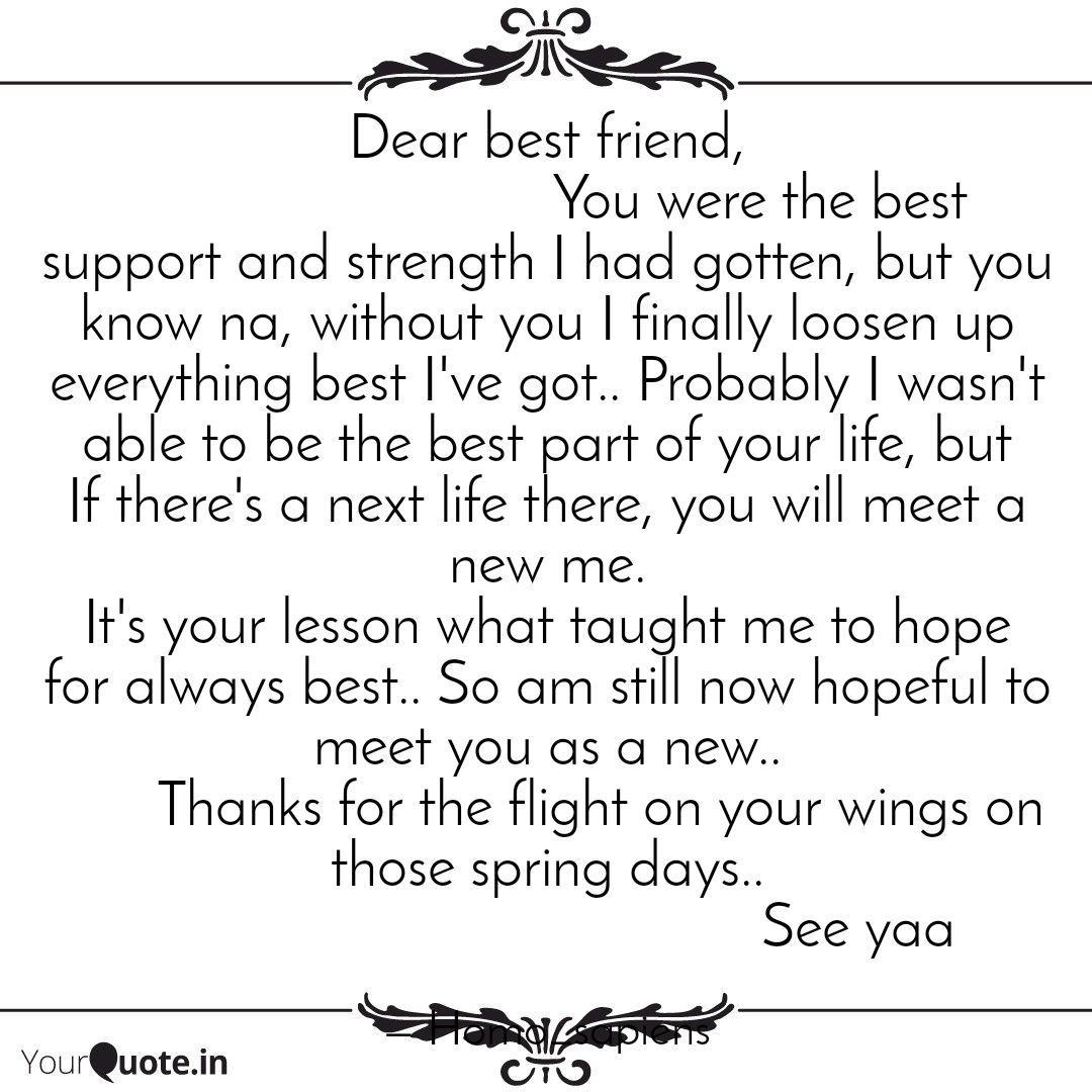Dear best friend, ... | Quotes & Writings by Smaranika ...