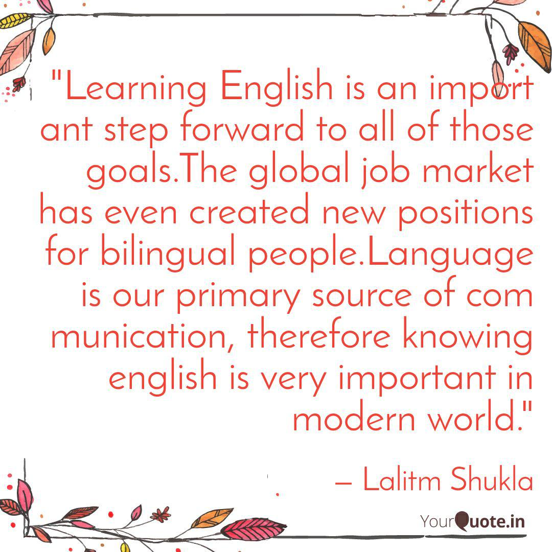 """""""Learning English is an i...   Quotes & Writings by Lalitm ..."""