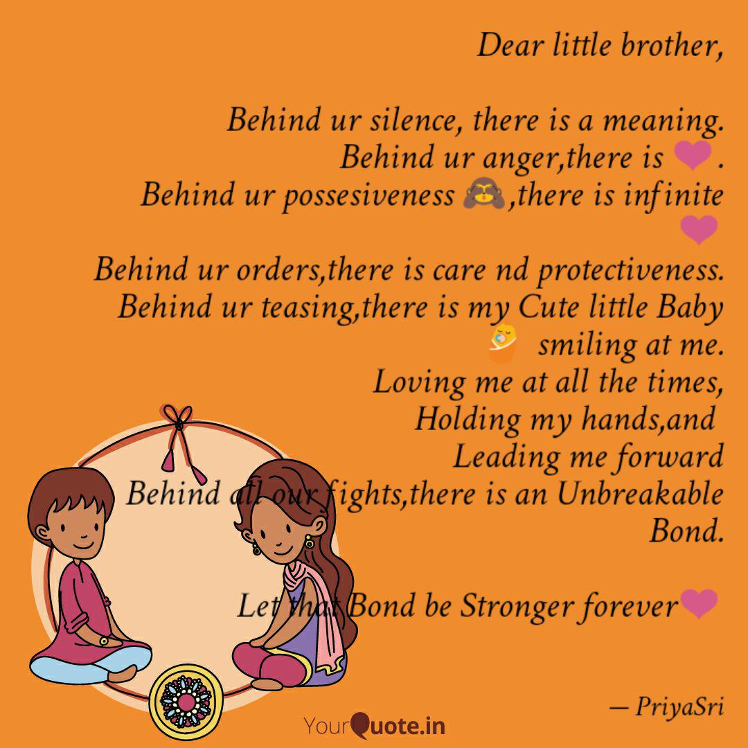 Dear little brother, Be... | Quotes & Writings by Riya Sri ...