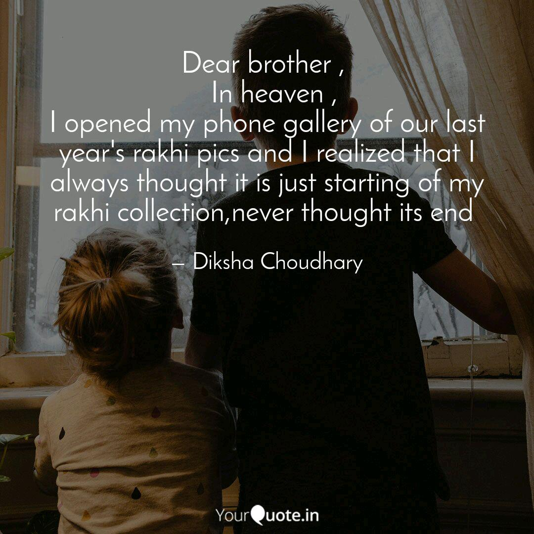 Dear brother , In hea... | Quotes & Writings by Diksha ...