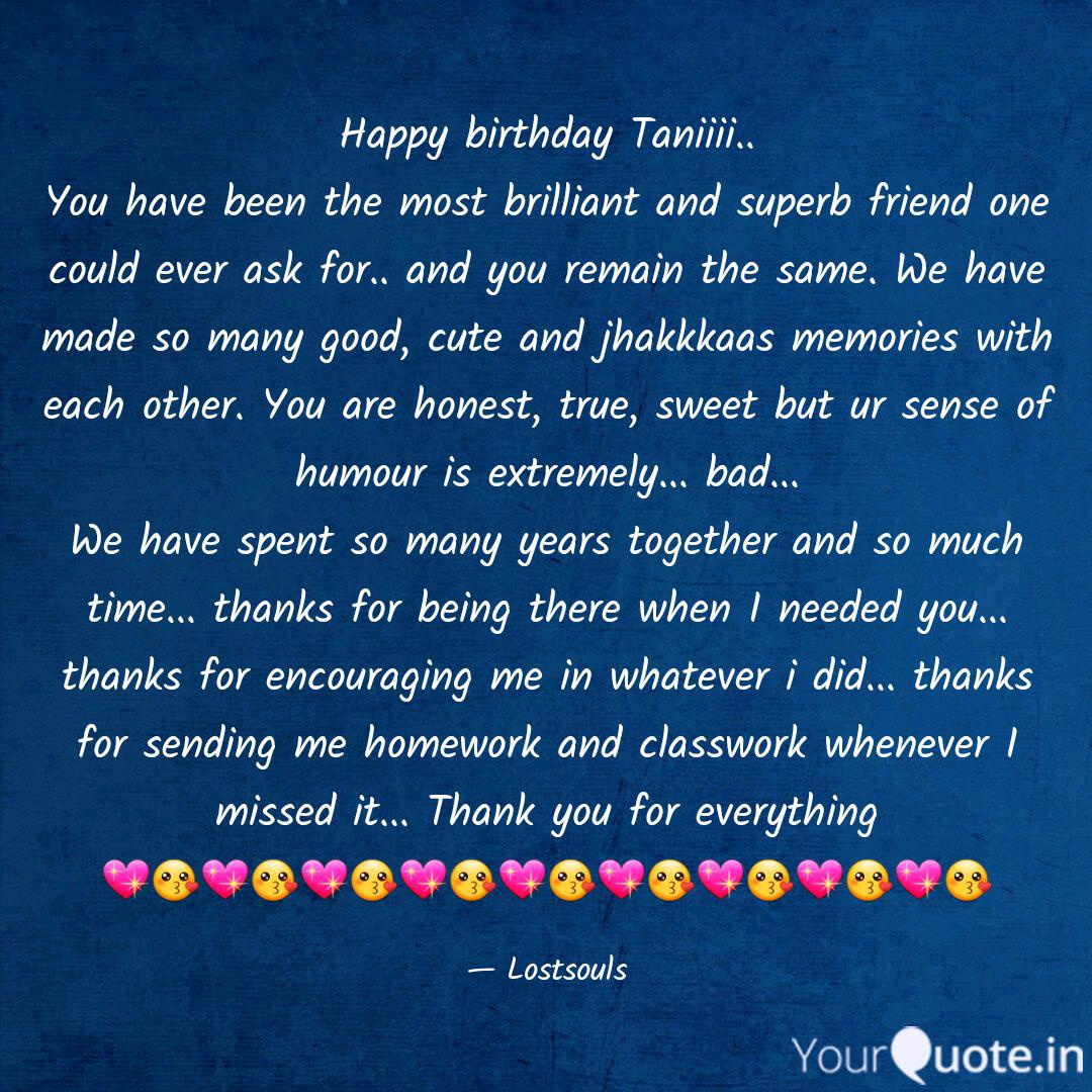 happy birthday taniiii quotes writings by yashika singla