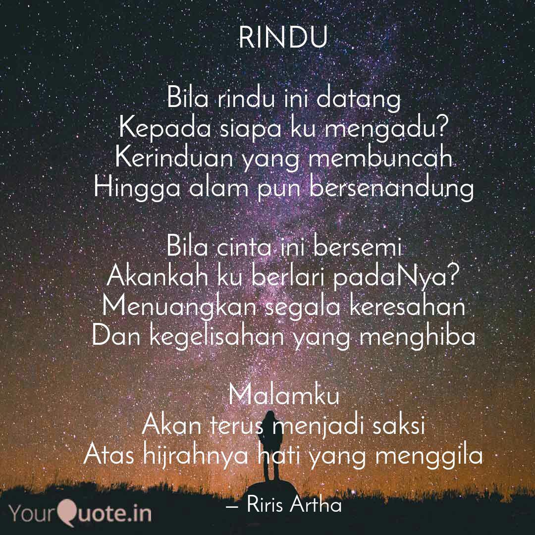 rindu bila rindu ini dat quotes writings by riris artha