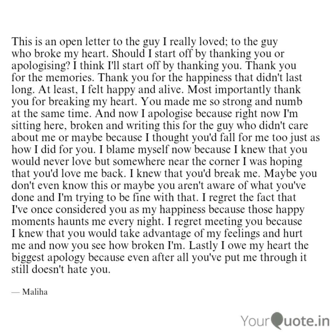 Heart you letter my broke You broke