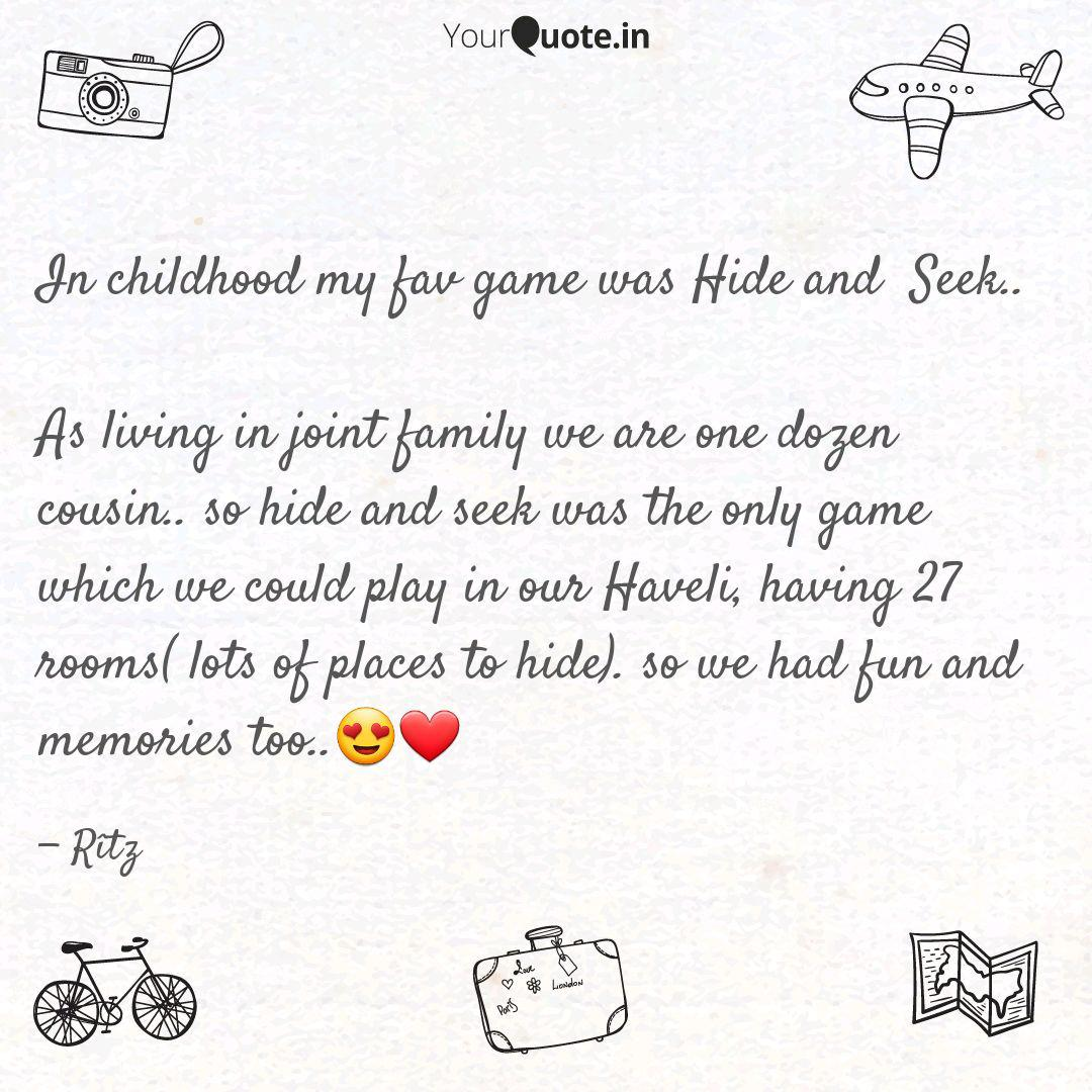 in childhood my fav game quotes writings by ritu agrawal