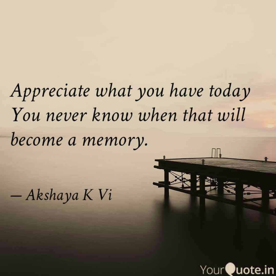 Appreciate what you have   Quotes & Writings by Akshaya K Vi