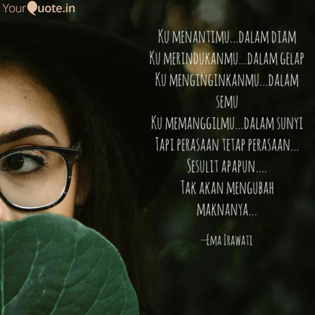ku menantimu dalam diam quotes writings by ema irawati