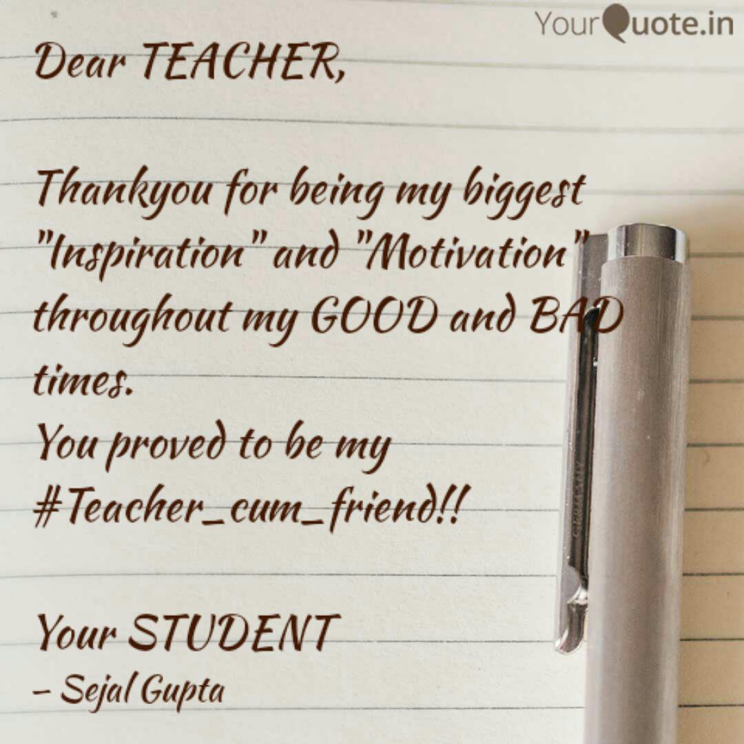 Dear TEACHER, Thankyou f  Quotes & Writings by Sejal Gupta