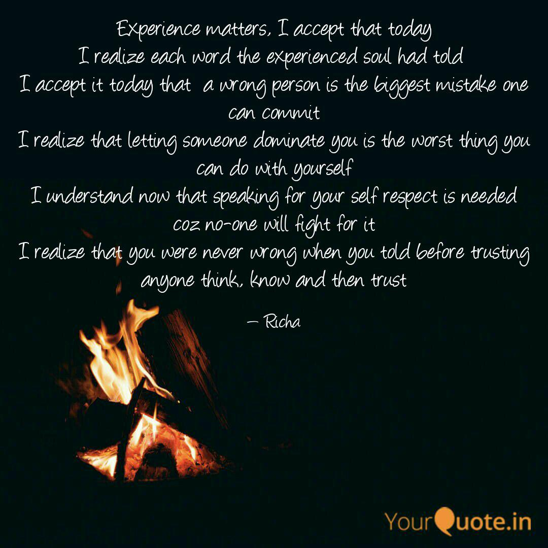 experience matters i acc quotes writings by richa samridhi