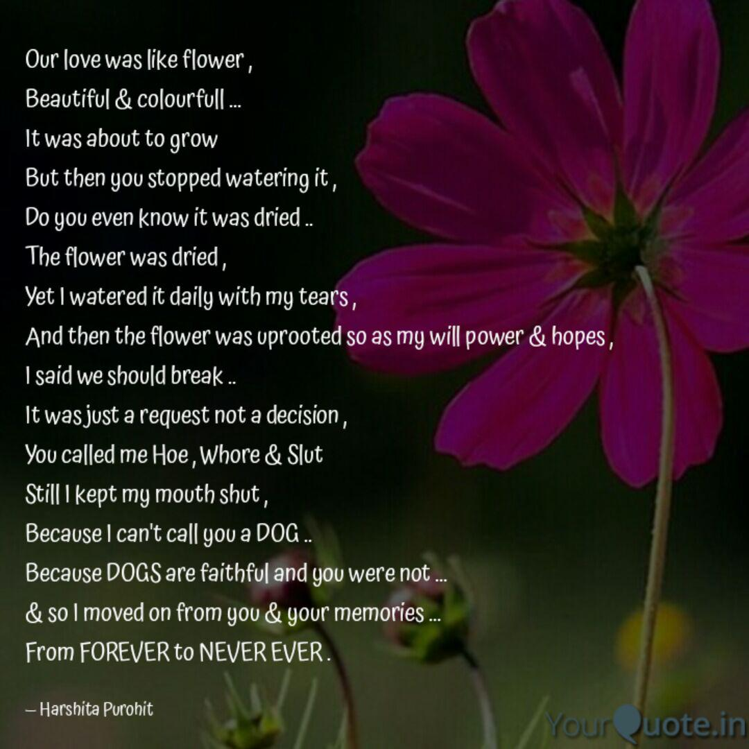 our love was like flower quotes writings by harshita