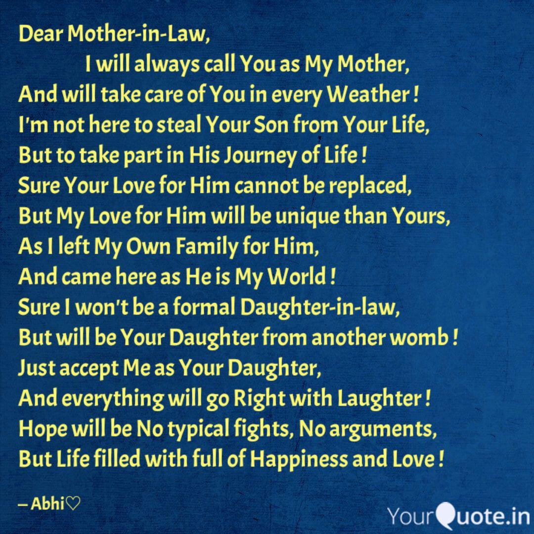 Dear Mother In Law Quotes Writings By Abhinandana Rangasamy Yourquote