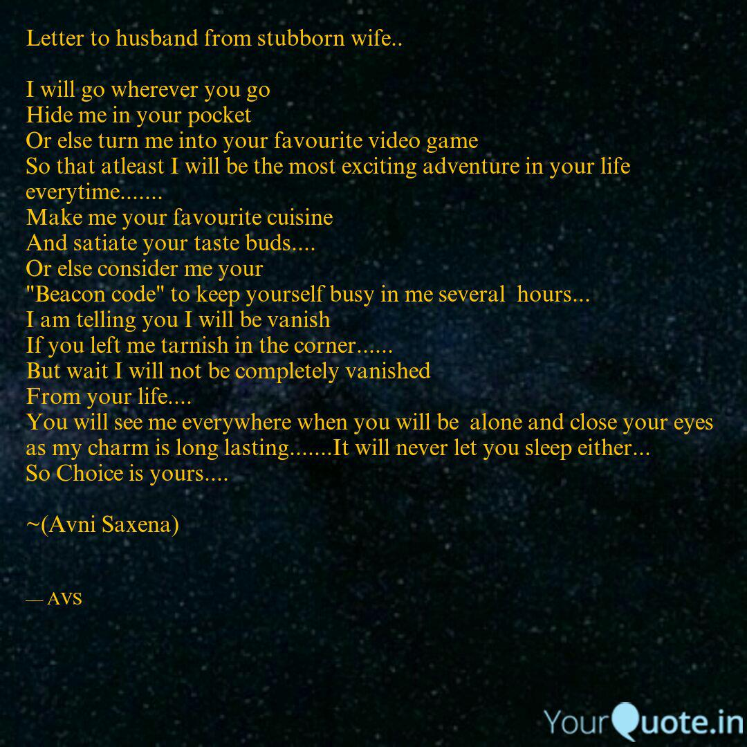 letter to husband from st quotes writings by saxena avni