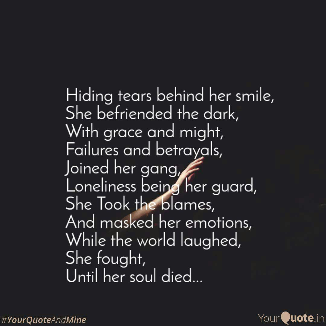 Hiding tears behind her s... | Quotes & Writings by ...