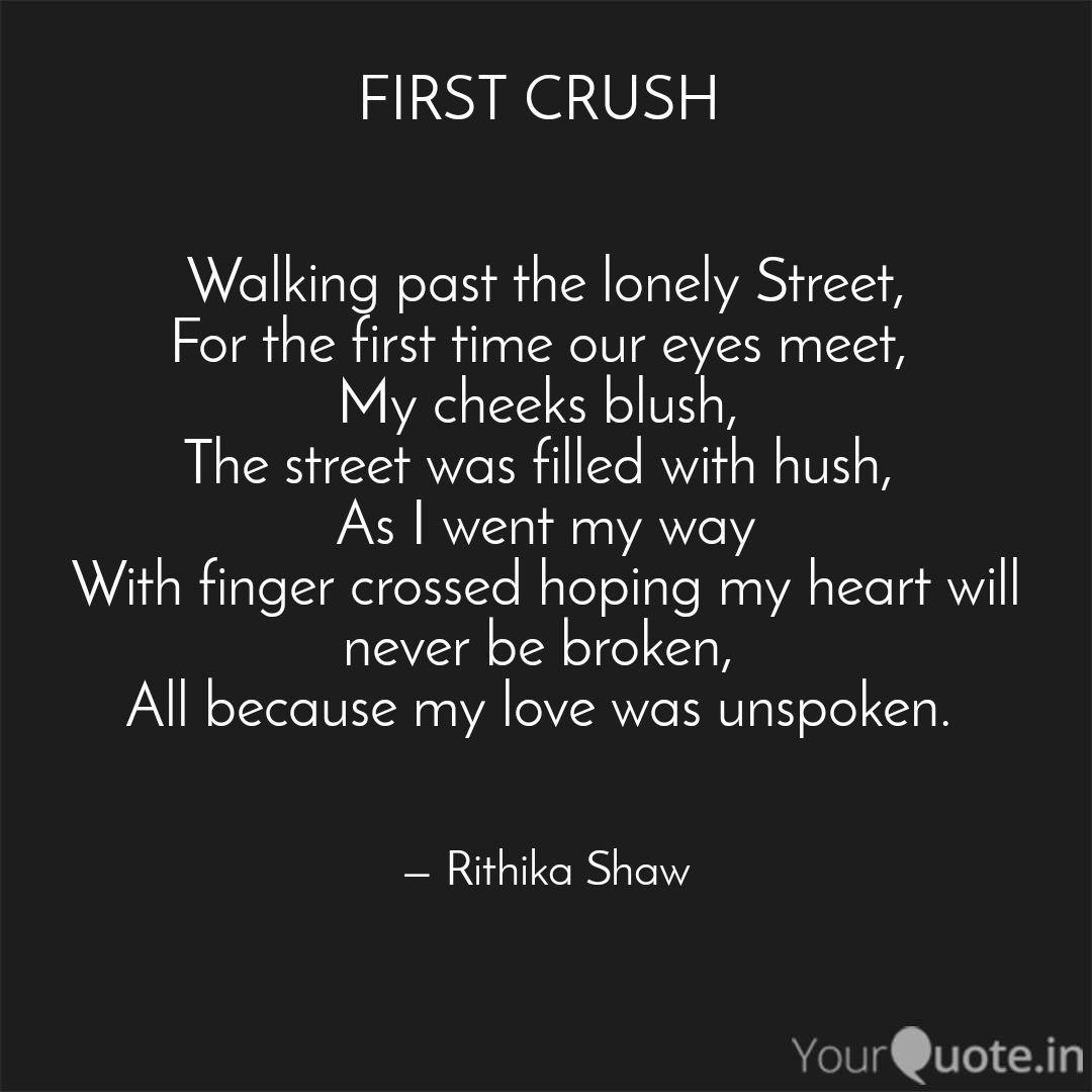 FIRST CRUSH Walking pa  Quotes & Writings by Rithika Shaw