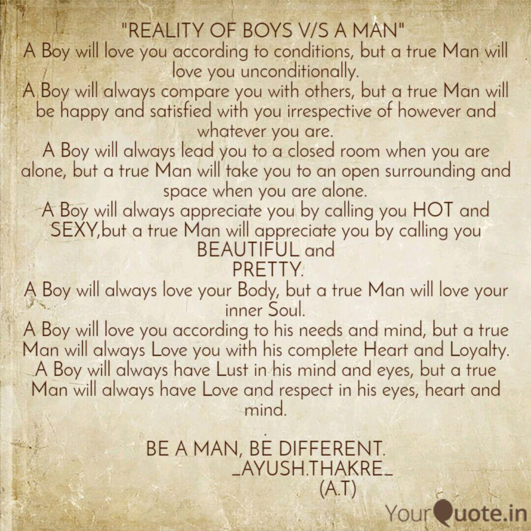 REALITY OF BOYS V/S A MA... | Quotes & Writings by Ayush ...