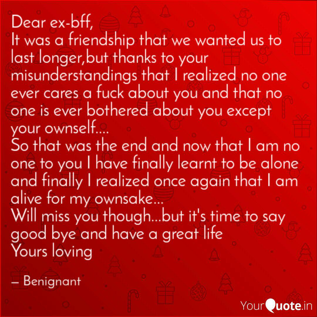 Dear ex-bff, It was a fri... | Quotes & Writings by ...
