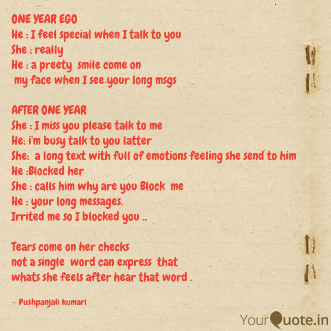 ONE YEAR EGO He : I fee    | Quotes & Writings by dream