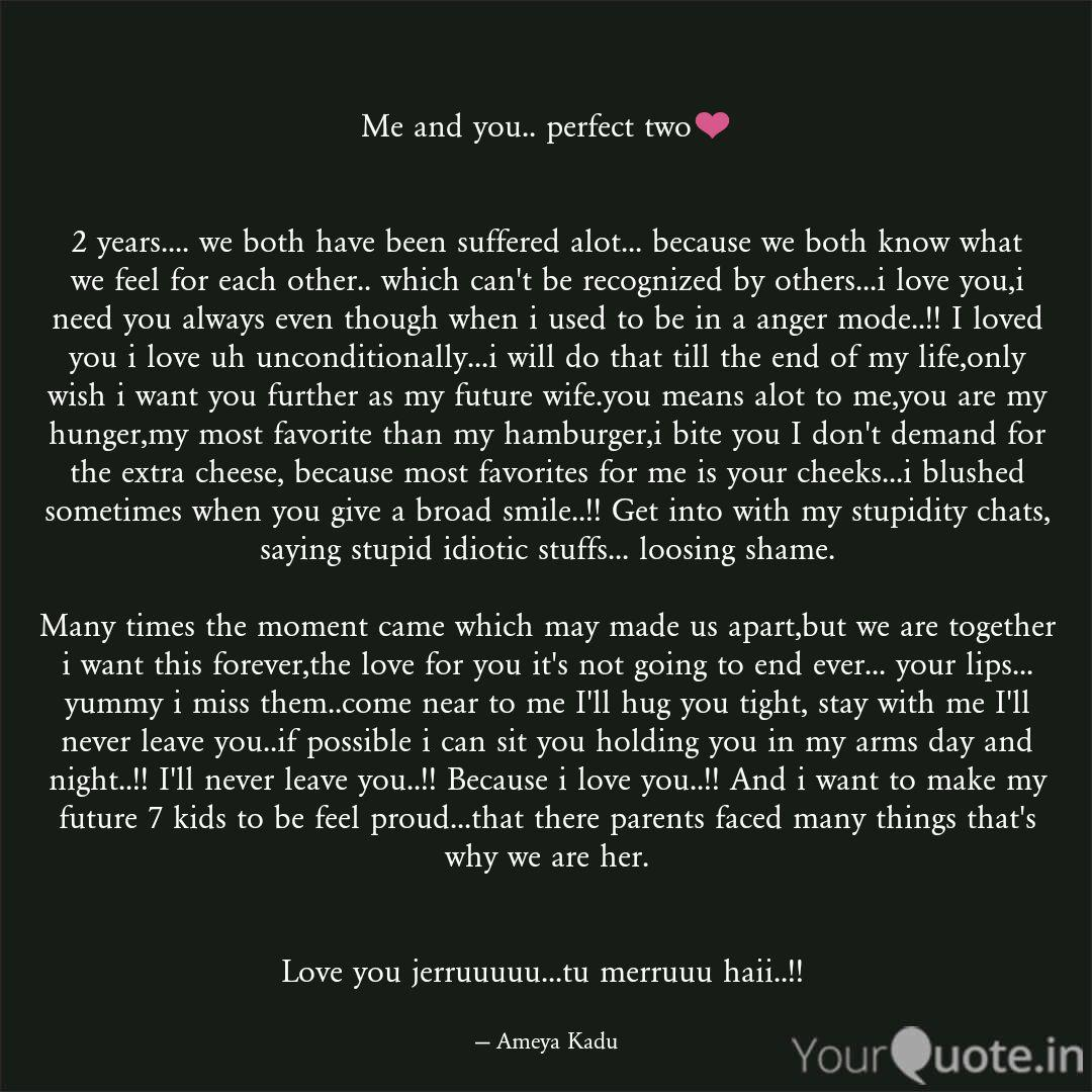 Me and you.. perfect two❤... | Quotes & Writings by Ameya ...