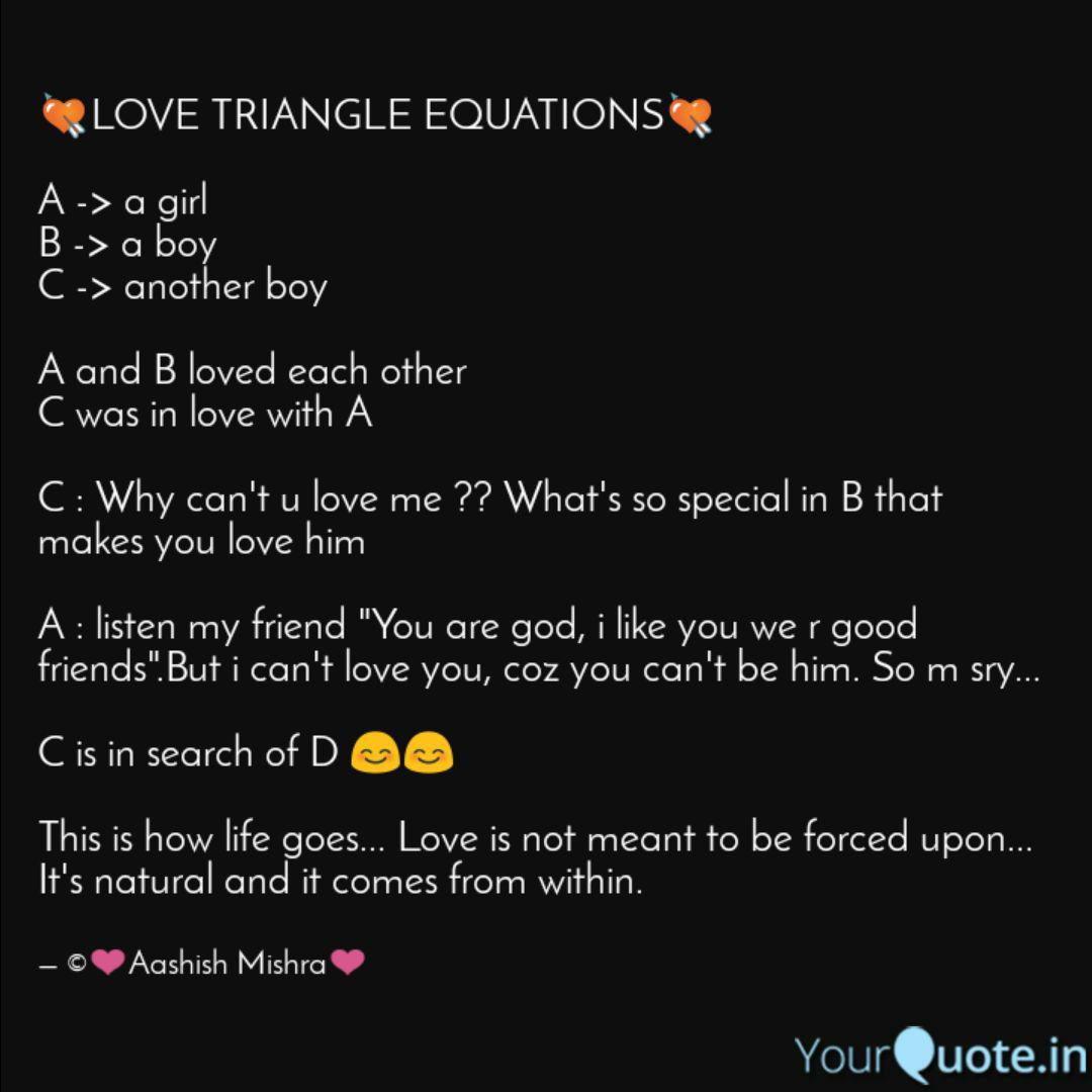💘LOVE TRIANGLE EQUATIONS  Quotes & Writings by Aashish Mishra