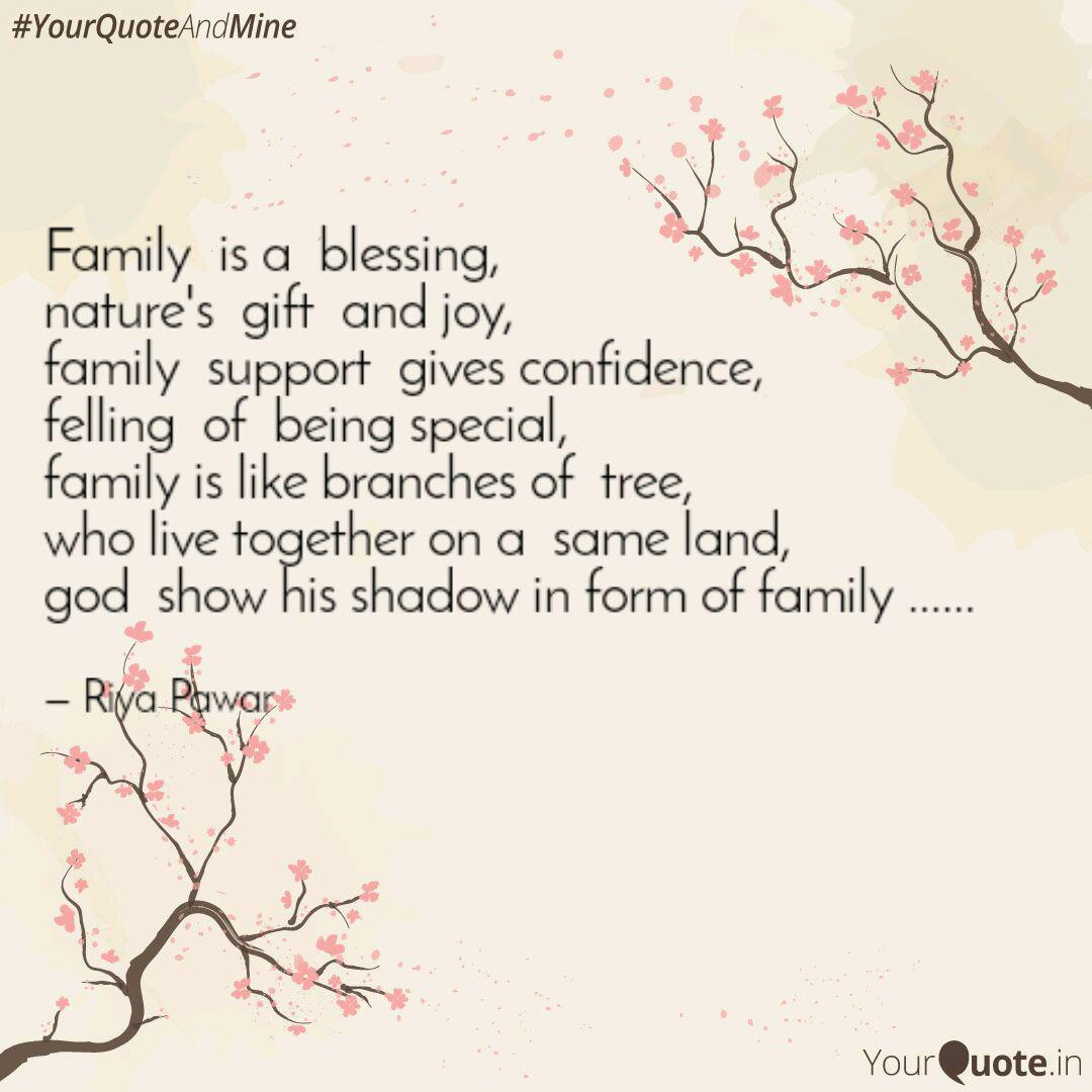 family is a blessing n quotes writings by riya pawar