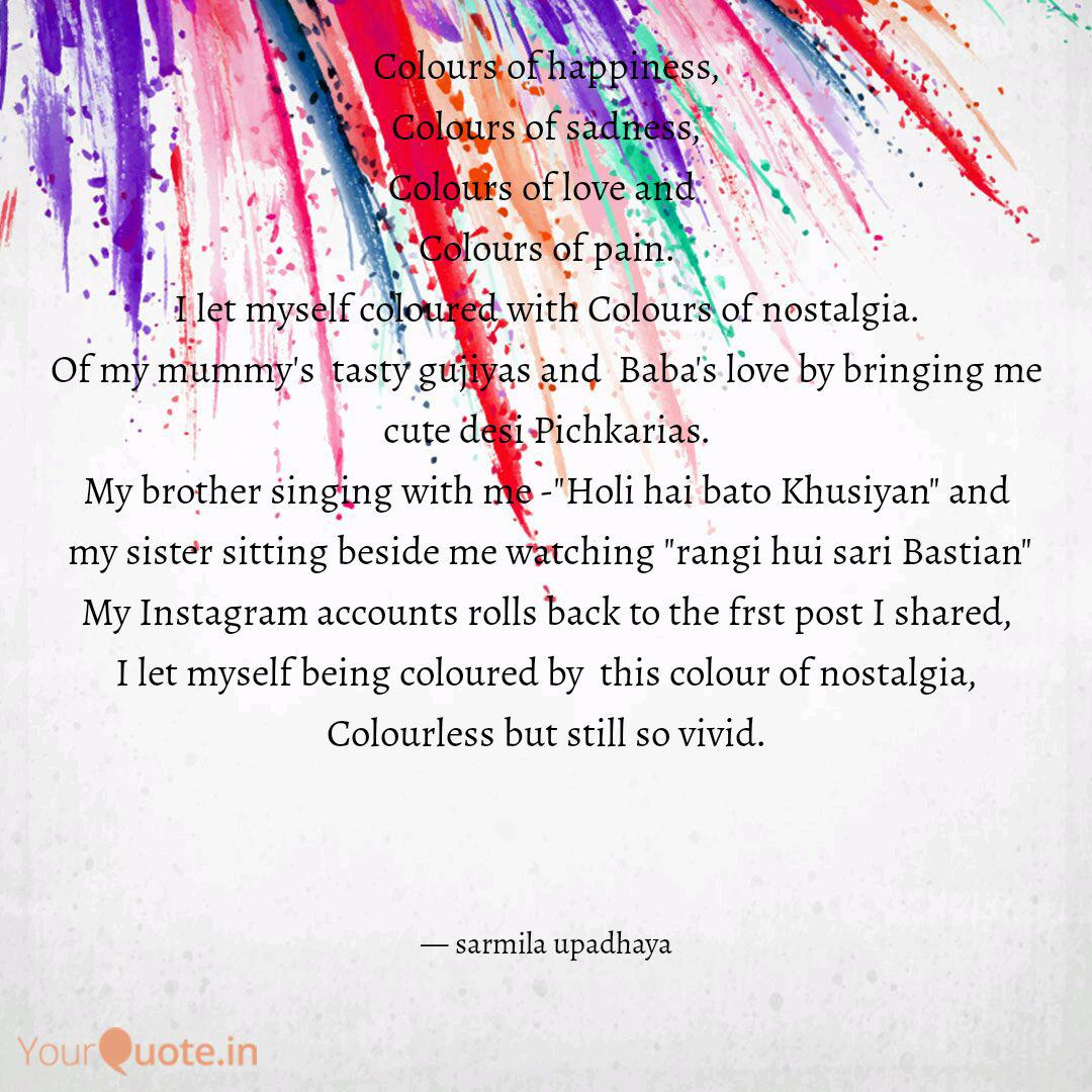 Colours Of Happiness Col Quotes Writings By Sarmila Upadhaya Yourquote