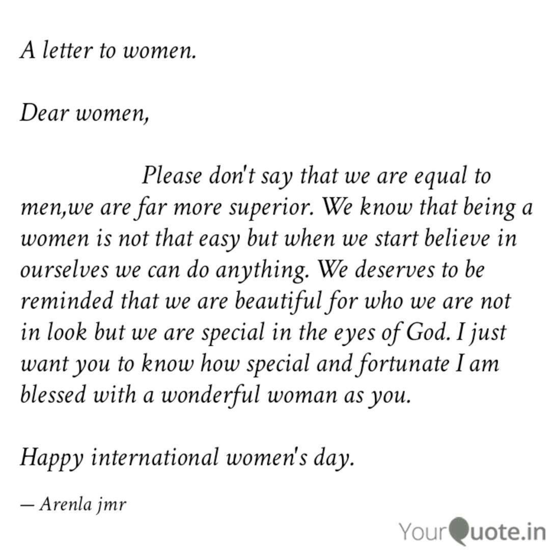A letter to women. Dear ... | Quotes & Writings by Arenla ...
