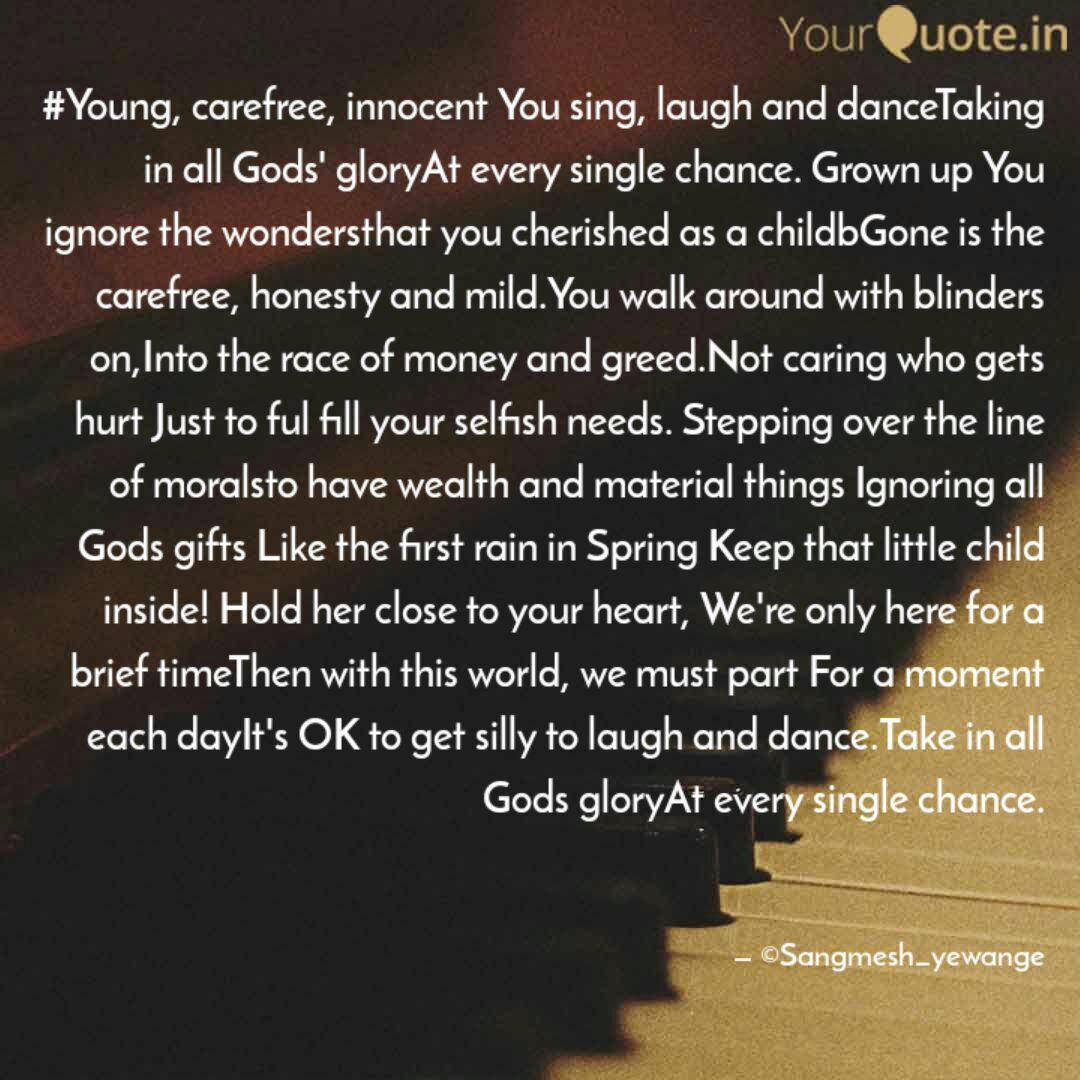 Young, carefree, innocen... | Quotes & Writings by Sangmesh ...