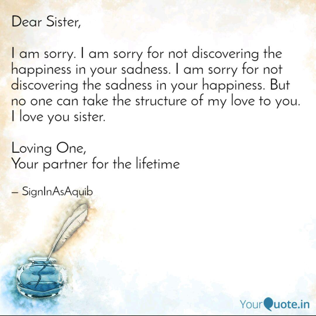 dear sister i am sorry quotes writings by akib hussain