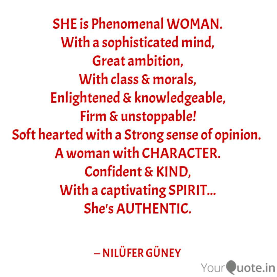 SHE is Phenomenal WOMAN. ... | Quotes & Writings by NILÜFER ...