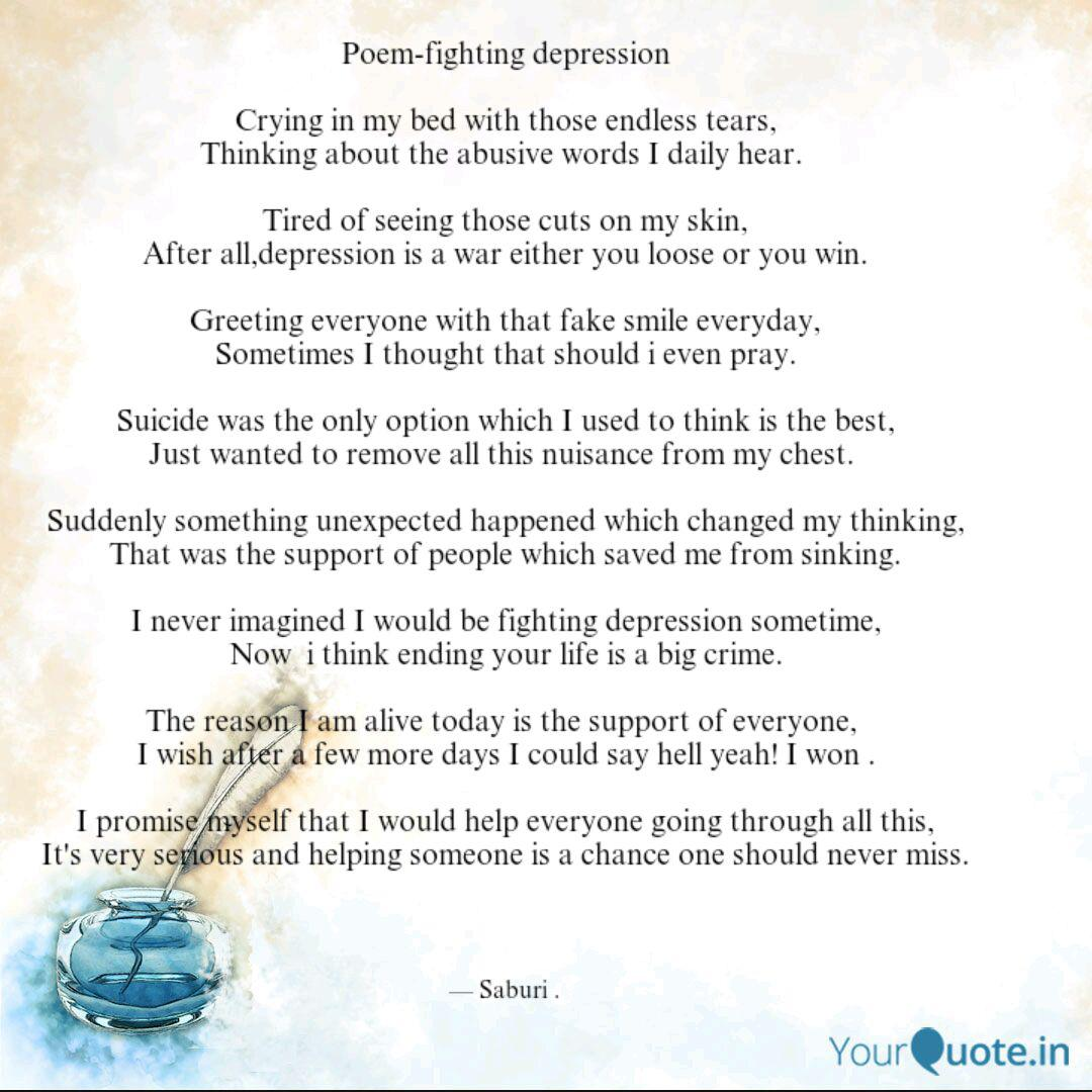 poem fighting depression quotes writings by saburi