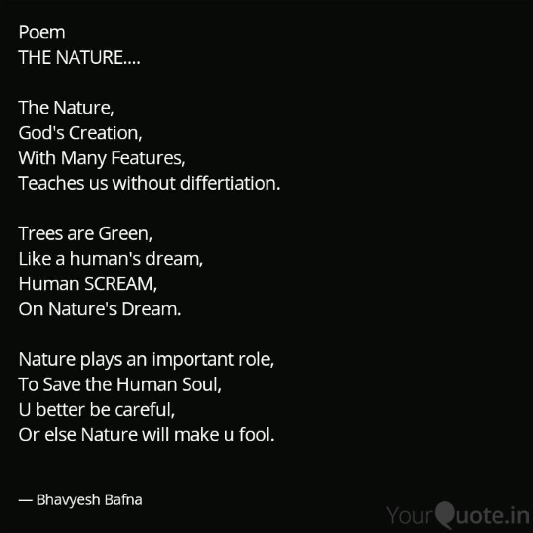 Poem The Nature The Quotes Writings By Bhavyesh