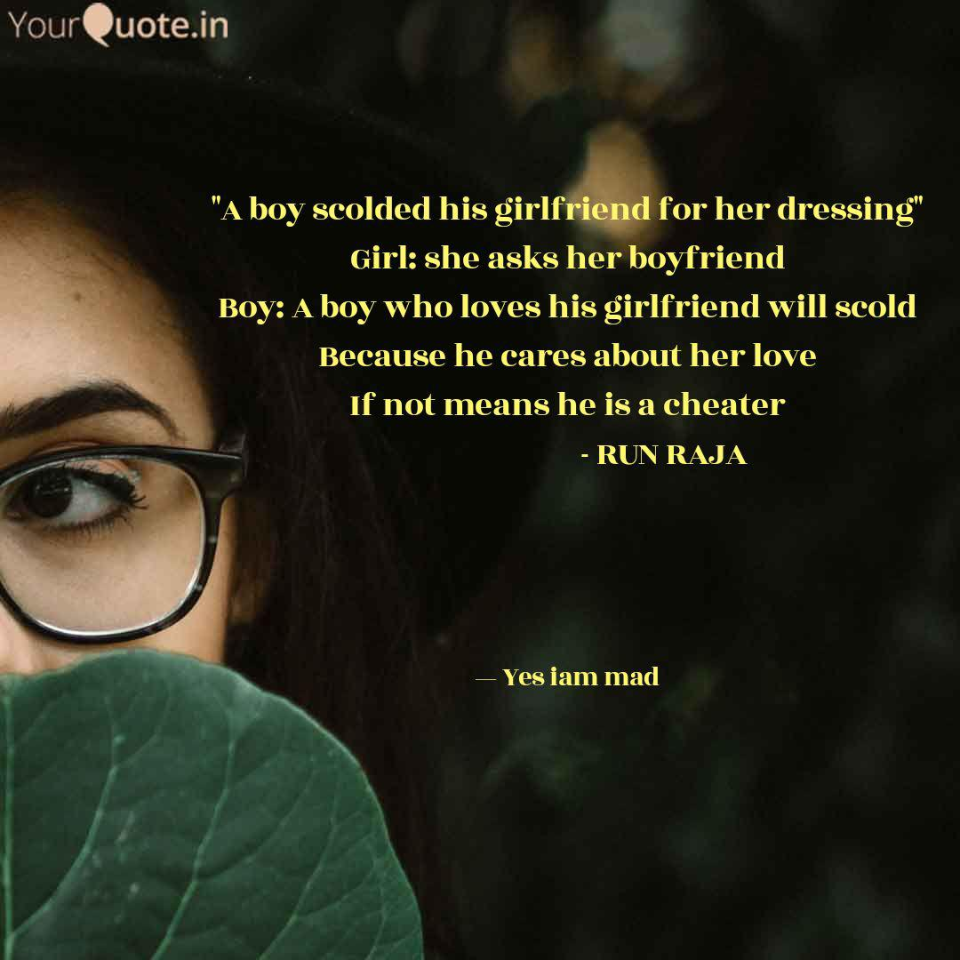 A boy scolded his girlfr...   Quotes & Writings by Abbay ...